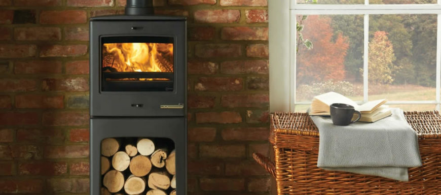 Wood burning stove with logs
