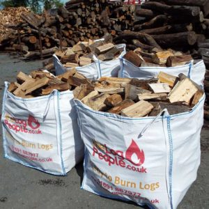 Loose kiln dried hardwood firewood logs in dumpy bags from The Log People