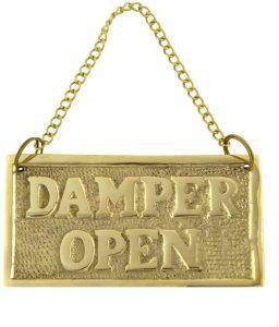 Damper open brass sign
